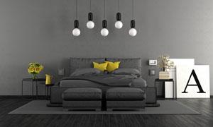 黑白色調臥室房間布置攝影高清圖片