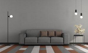 白色燈泡與黑色沙發等攝影高清圖片