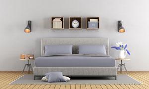 壁燈置物架與雙人床等攝影高清圖片