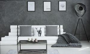 墻壁裝飾畫與落地燈等攝影高清圖片