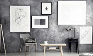 桌椅與墻上的裝飾畫等攝影高清圖片