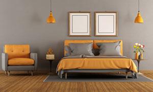 插花沙發與吊燈裝飾畫攝影高清圖片