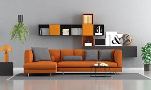 沙發與墻壁式置物架等布置高清圖片