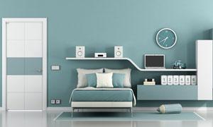 臥室房間床鋪與置物架攝影高清圖片