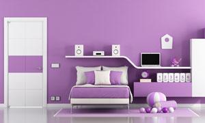 紫色配色臥室家具布置攝影高清圖片