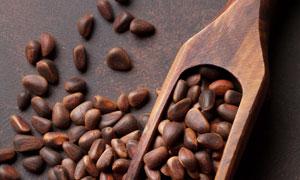 木鏟里的優質松子特寫攝影高清圖片