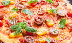 珍馐美味的比萨饼特写摄影高清图片