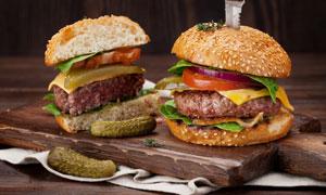 內容豐富的漢堡包特寫攝影高清圖片