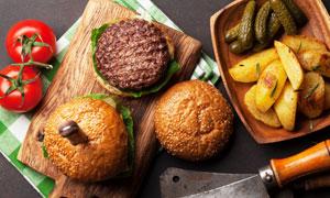 土豆西紅柿與漢堡包等攝影高清圖片