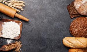 小麥面粉與面包食物等攝影高清圖片