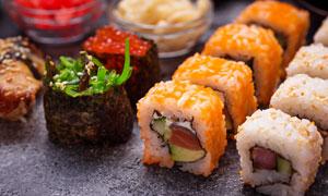 多種口味壽司美食特寫攝影高清圖片