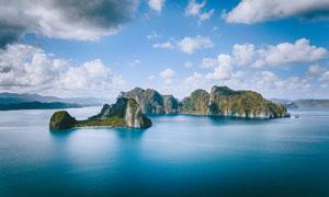 蓝天白云海岛自然风光摄影高清图片