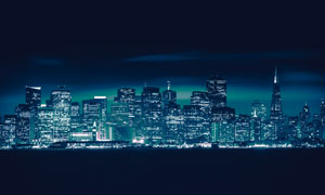 大都市夜晚繁华的夜景摄影高清图片