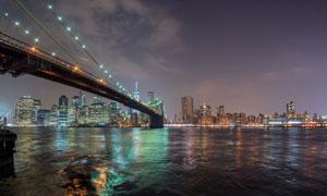 夜幕降臨城市風光景觀攝影高清圖片