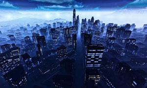 夜色下的遠山城市鳥瞰攝影高清圖片