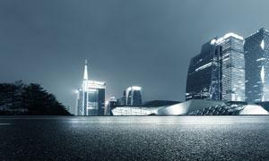 城市公路與建筑物夜景攝影高清圖片