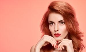浓妆打扮长发欧美模特摄影高清图片