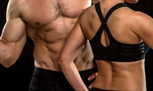 健身運動男女人物局部特寫高清圖片