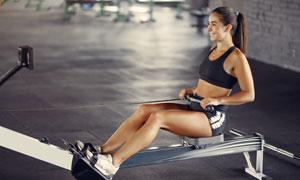 健身房里做劃船運動的美女高清圖片