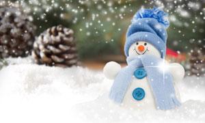 飄雪天氣可愛雪人創意攝影高清圖片
