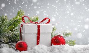 樹枝圣誕球與禮物盒等攝影高清圖片