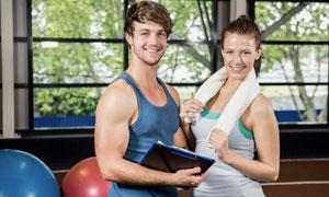 陽光活力氣質健身男女攝影高清圖片