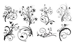 黑白藤蔓花紋裝飾圖案主題矢量素材