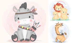 长颈鹿与斑马狮子动物卡通矢量素材