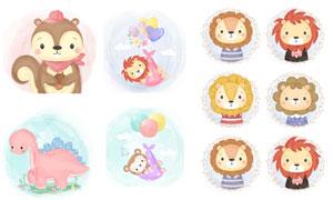 松鼠狮子与猴子等可爱插画矢量素材