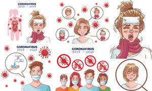 新冠肺炎疫情宣传科普图表矢量素材