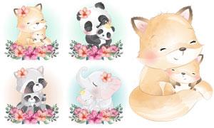 水彩可爱狐狸熊猫与大象等矢量素材