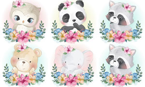花草装饰水彩可爱动物创意矢量素材