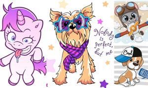 狮子小狗与独角兽卡通创意矢量素材