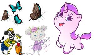 斑马蝴蝶与独角兽卡通动物矢量素材