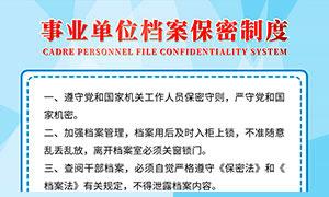 事业单位人事档案保密制度板PSD素材