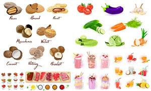 水果饮料与坚果蔬菜等创意矢量素材