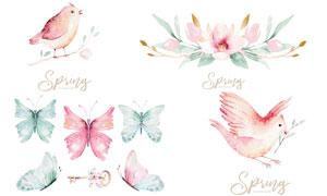 水彩效果鲜花与小鸟钥匙等矢量素材