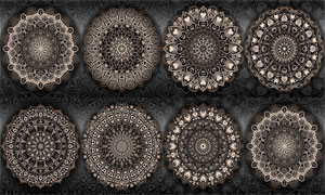 桃心元素中心對稱圓形圖案矢量素材