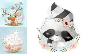 小熊猫与兔子小鹿卡通动物矢量素材