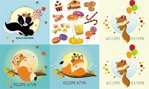 松鼠狐狸与饼干糖果等卡通矢量素材