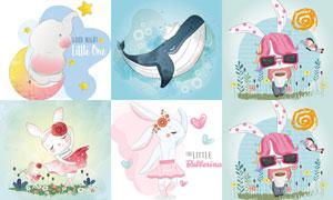 鲸鱼兔子大象卡通创意设计矢量素材