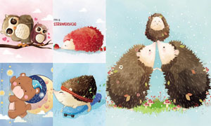 刺猬小熊与猫头鹰卡通动物矢量素材