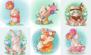 小熊与兔子等水彩动物插画矢量素材