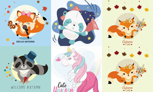 唱歌的狐狸等卡通动物创意矢量素材