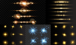 星光元素与光效分隔线创意矢量素材