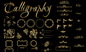 金色的花纹与装饰边框创意矢量素材