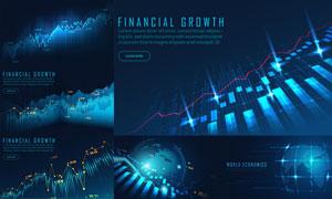 世界經濟與股市漲跌圖創意矢量素材