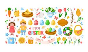 复活节彩蛋与兔子儿童卡通矢量素材