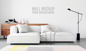 客厅沙发家具衬托的背景墙分层模板