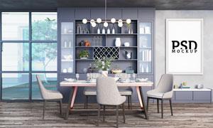 餐厅桌椅摆设与墙壁装饰画样机模板